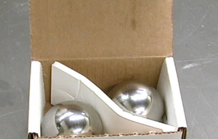 Two 1-pound, 2 inch diameter chrome steel spheres. When smashed together with a