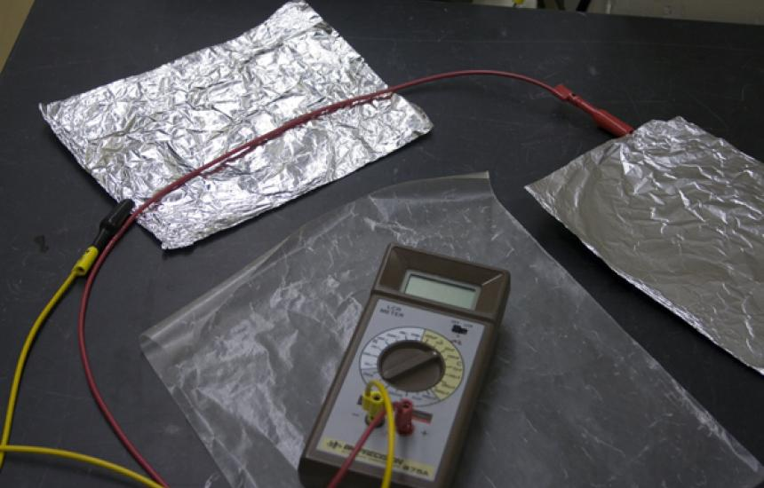 Two pieces of tin foil, sheet of wax paper and an LCR meter.