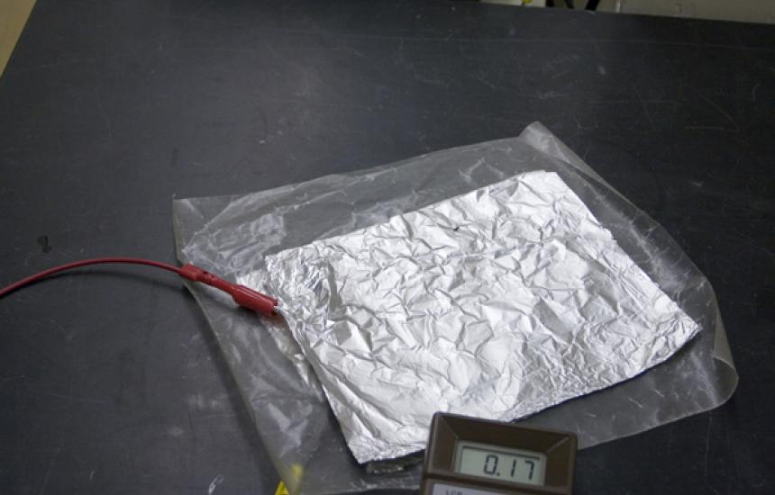 A sheet of tin foil.