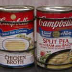 The broth soup is very fluid while the split pea soup is solid. The cans are rac